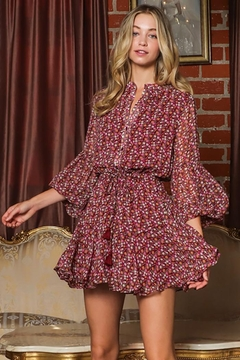 AAKAA Tie Front Waist Button Down Mini Dress - Product List Image