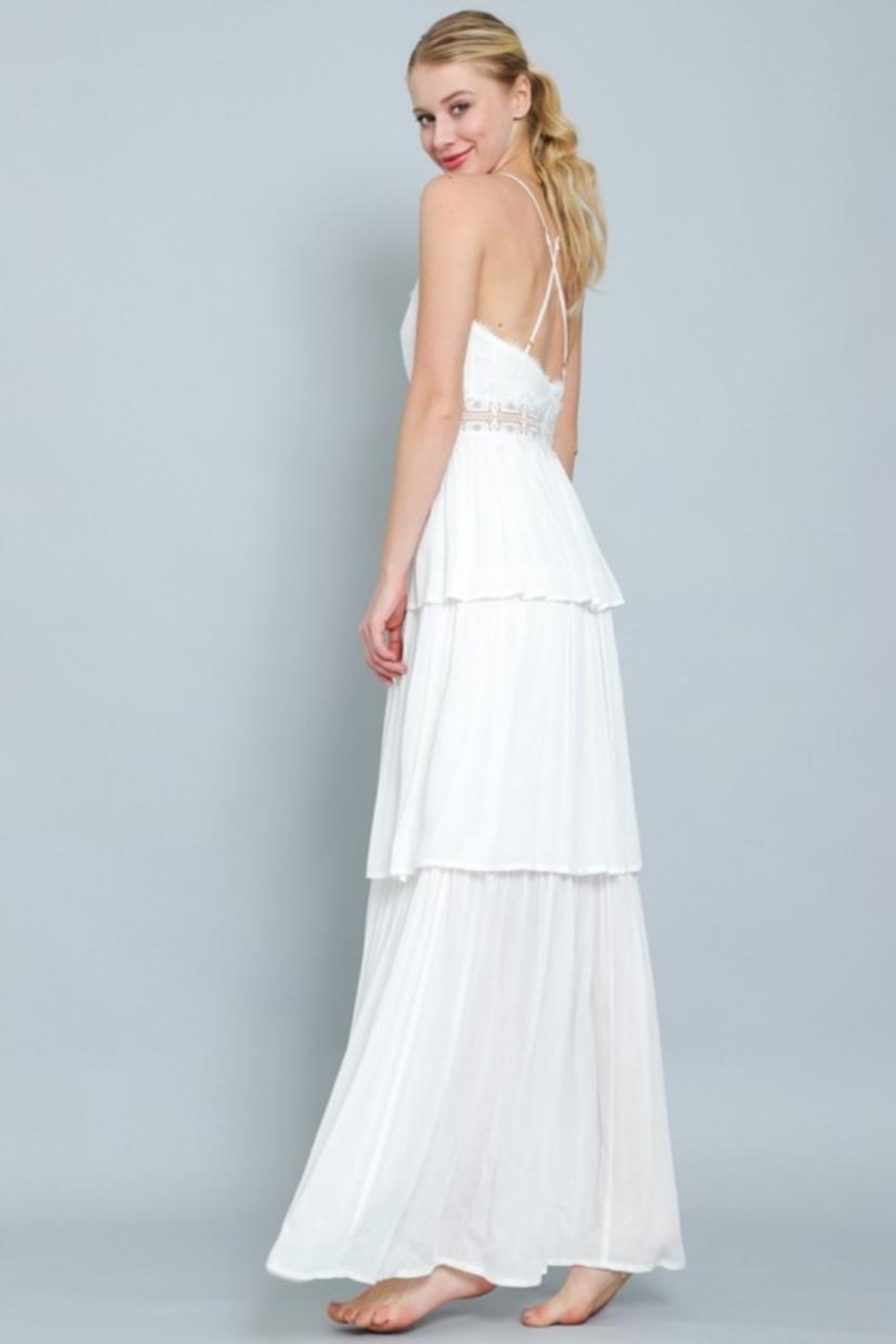 AAKAA Tiered Maxi Dress - Front Full Image