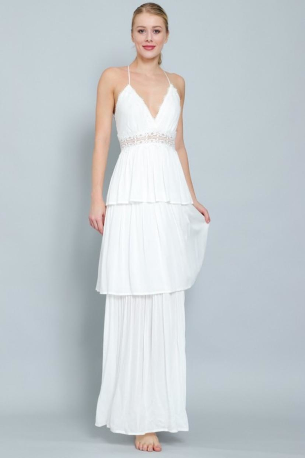 AAKAA Tiered Maxi Dress - Front Cropped Image