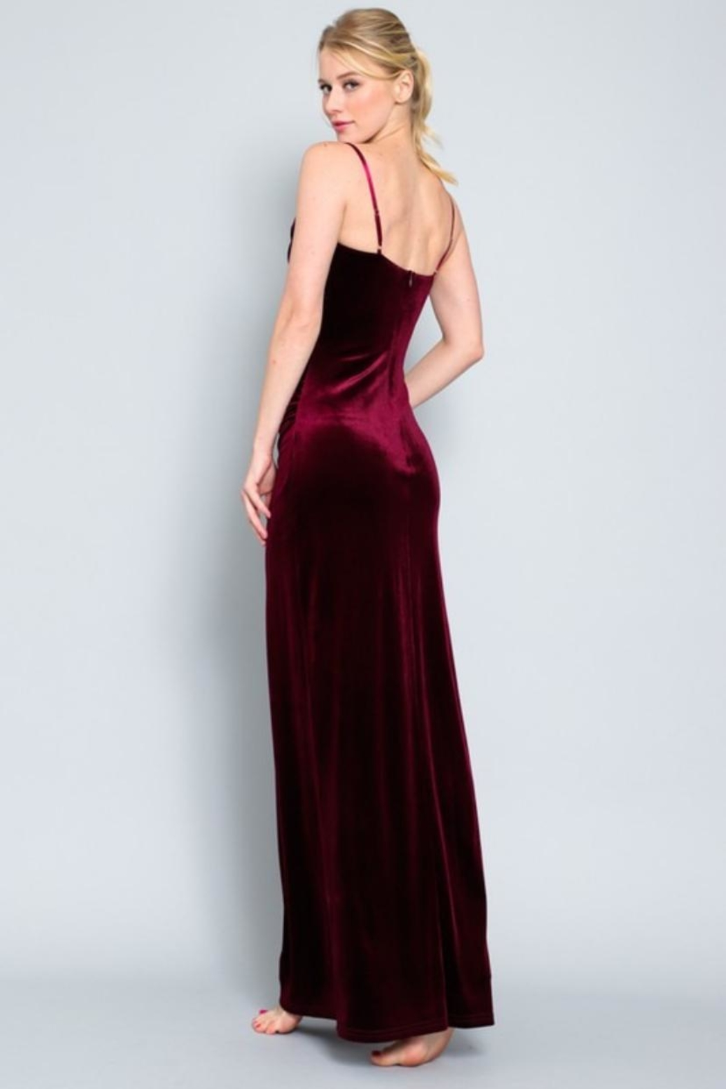 AAKAA Velvet Maxi Dress - Front Full Image
