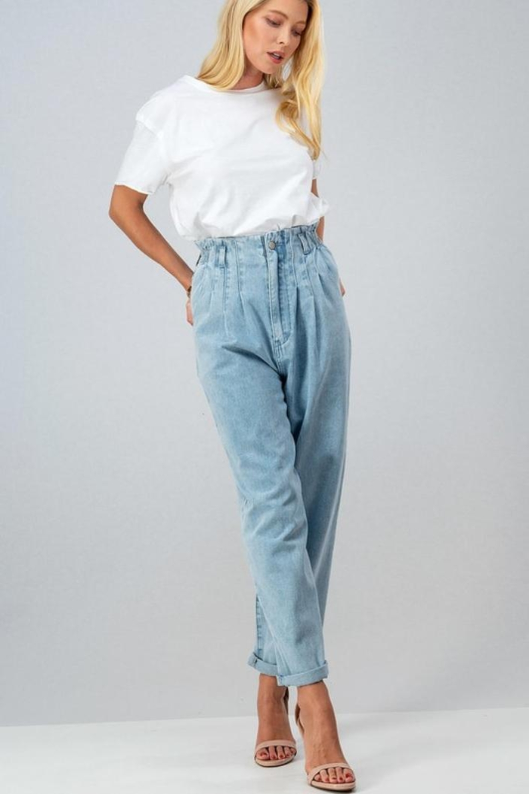 Aaron & Amber High Waisted Mom Jeans - Back Cropped Image