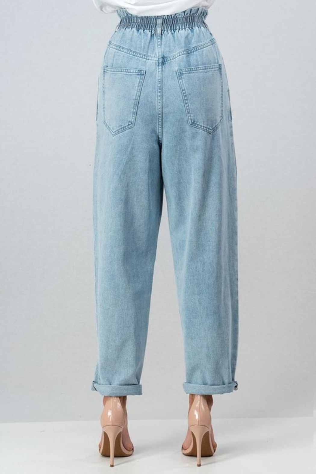 Aaron & Amber High Waisted Mom Jeans - Front Full Image
