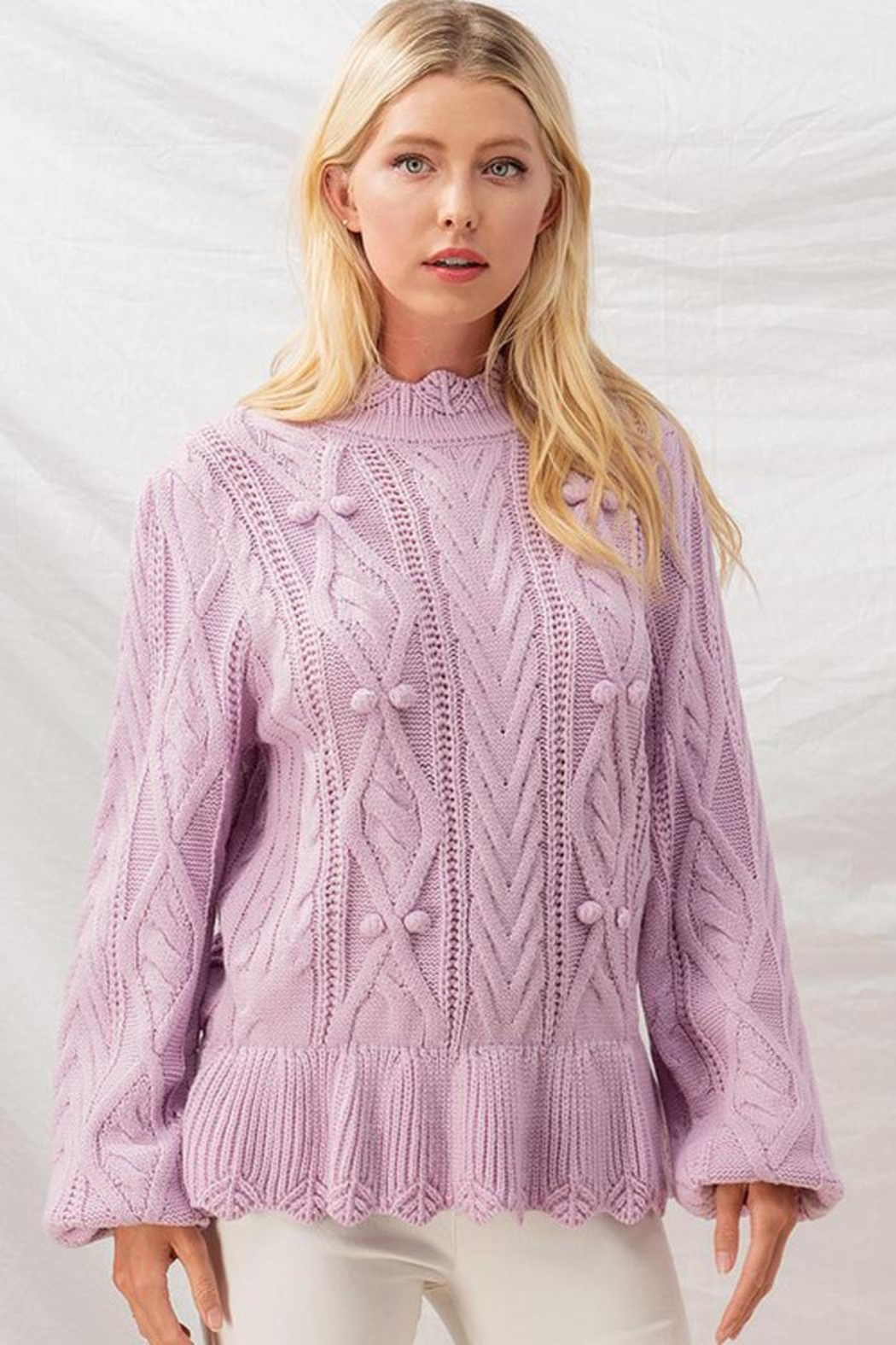Aaron & Amber Pom Pom Ruffle Hem Cable Knit Sweater Jumper - Side Cropped Image