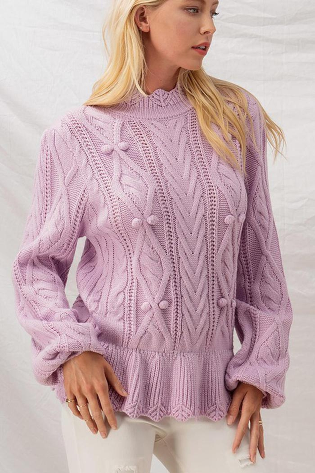 Aaron & Amber Pom Pom Ruffle Hem Cable Knit Sweater Jumper - Back Cropped Image