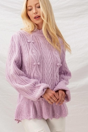 Aaron & Amber Pom Pom Ruffle Hem Cable Knit Sweater Jumper - Front cropped