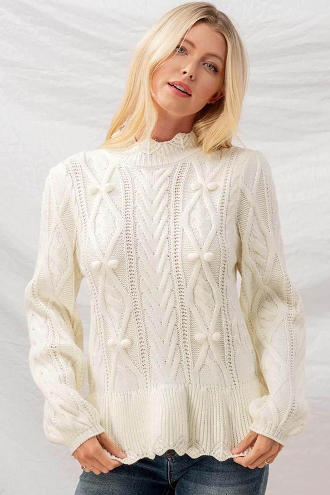 Aaron & Amber Pom Pom Ruffle Hem Cable Knit Sweater Jumper - Front Full Image