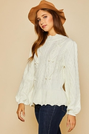 Aaron & Amber Pom Pom Ruffle Hem Cable Knit Sweater Jumper - Side cropped