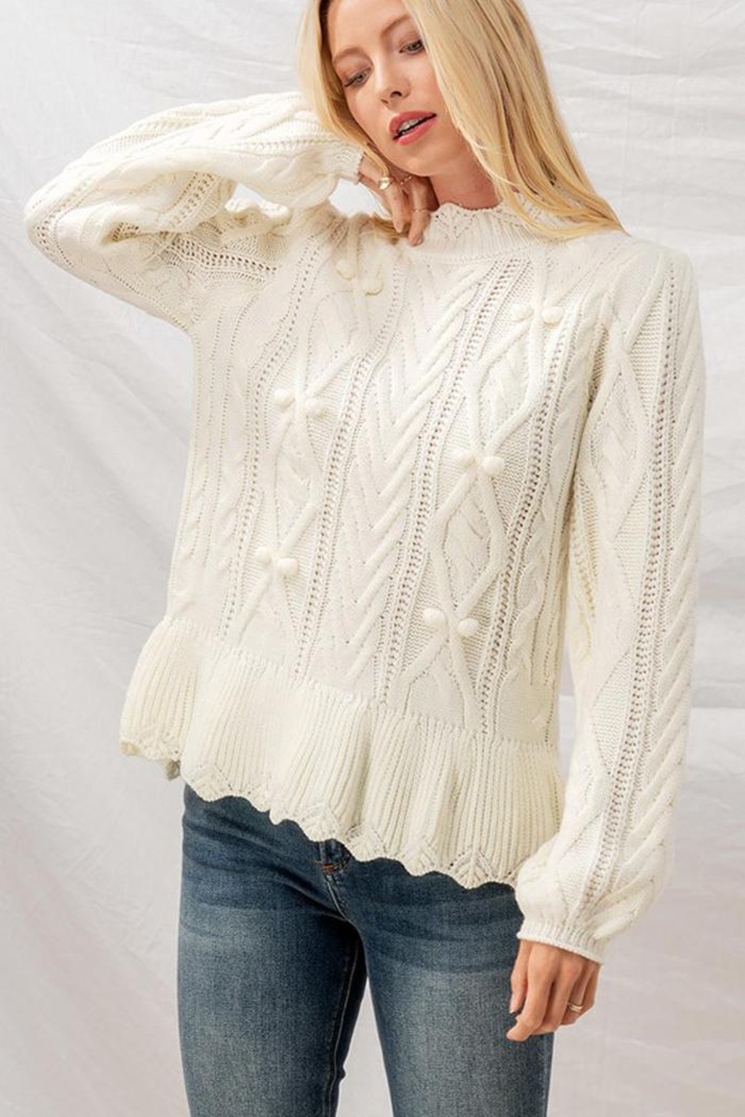 Aaron & Amber Pom Pom Ruffle Hem Cable Knit Sweater Jumper - Front Cropped Image