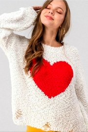 Aaron & Amber White Heart Sweater - Front cropped