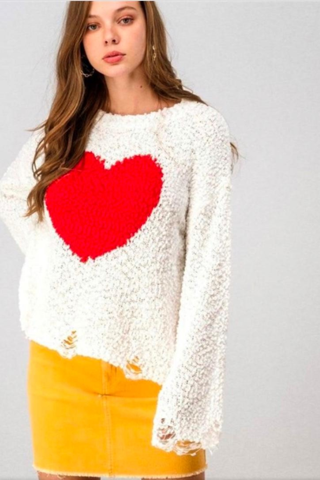 Aaron & Amber White Heart Sweater - Front Full Image