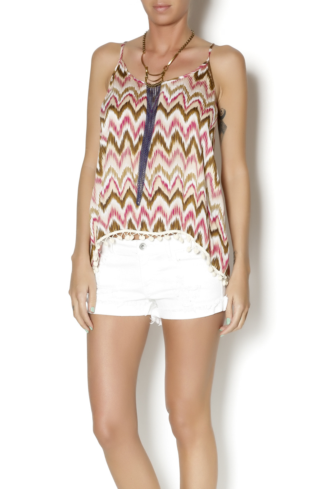 Abby & Taylor Blue Gold Fringe Necklace - Front Full Image