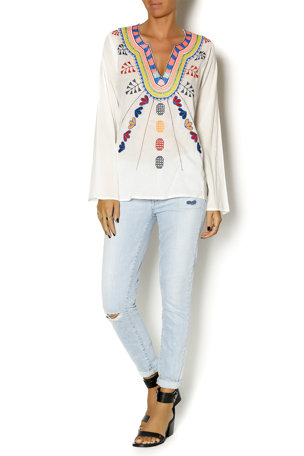 Christophe Sauvat Embroidered Ethnic Top - Front Full Image