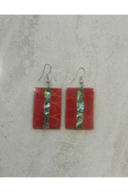 Bamboo Source ABALONE & CORAL RECTANGULAR EARRING - Product Mini Image