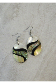 Bamboo Source ABALONE & MOTHER OF PEARL OVAL EARRING - Product Mini Image