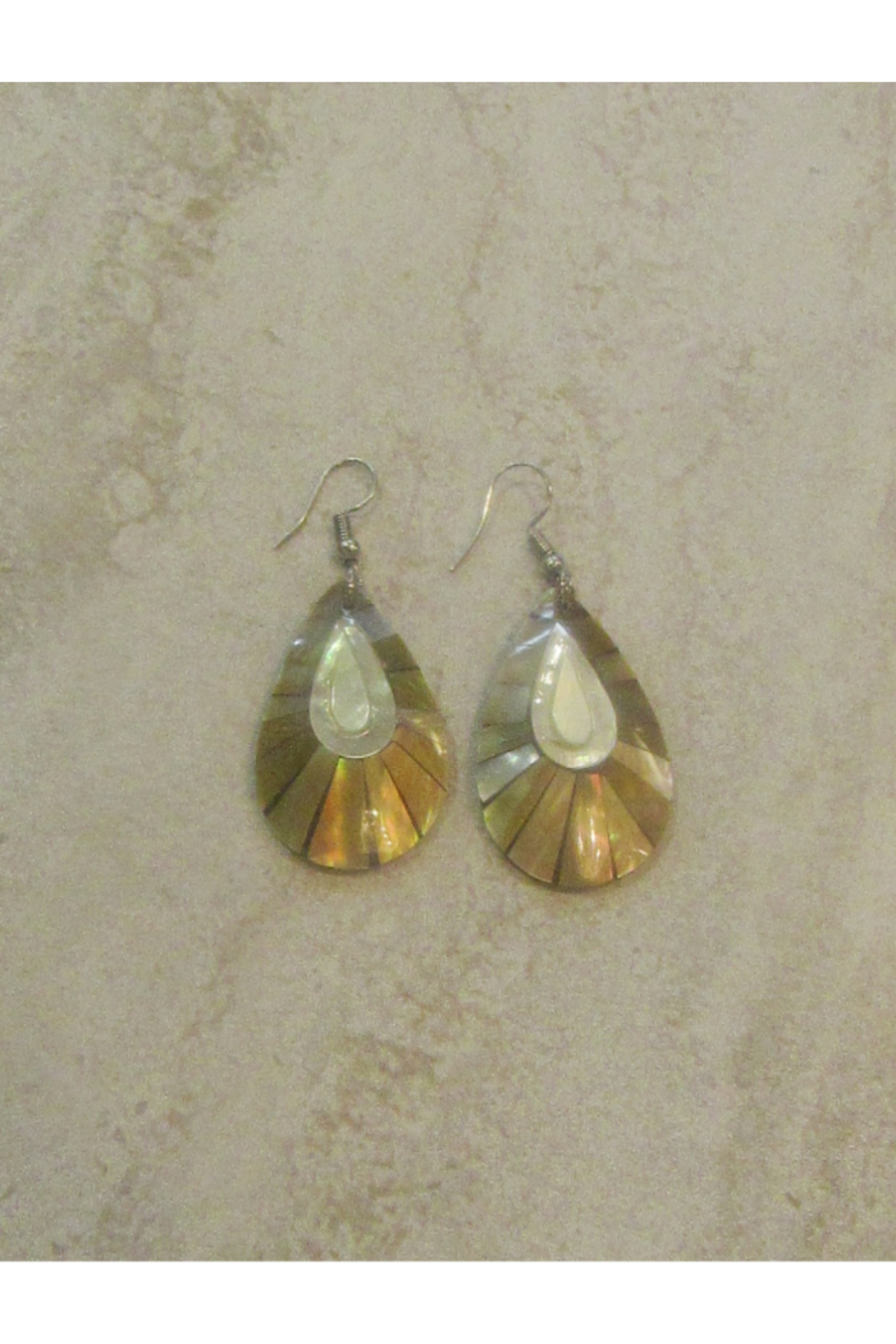 Bamboo Source MOTHER OF PEARL INLAY TEARDROP EARRING - Main Image