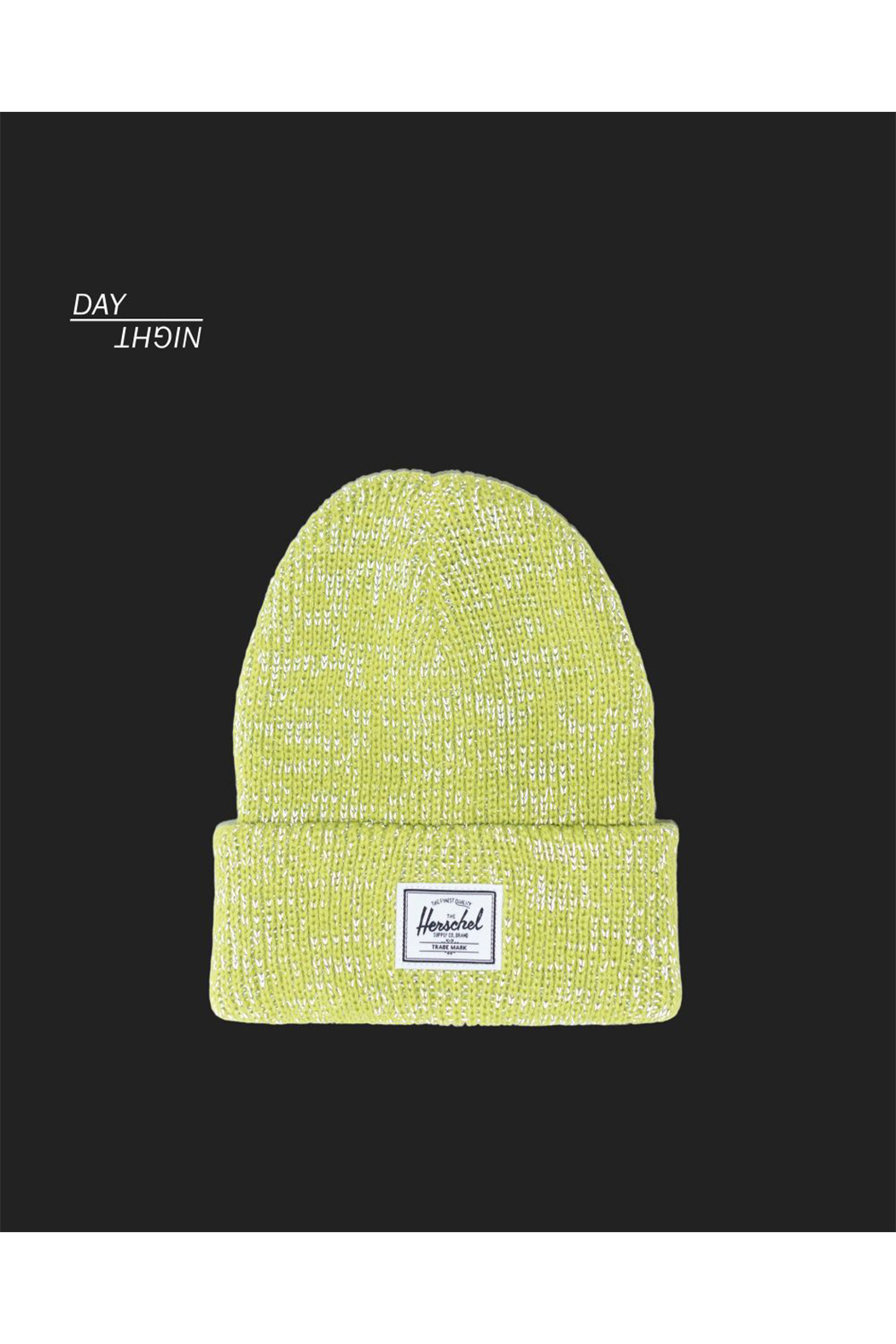 Herschel Supply Co. Abbott Reflective Beanie - Lime Punch - Front Full Image