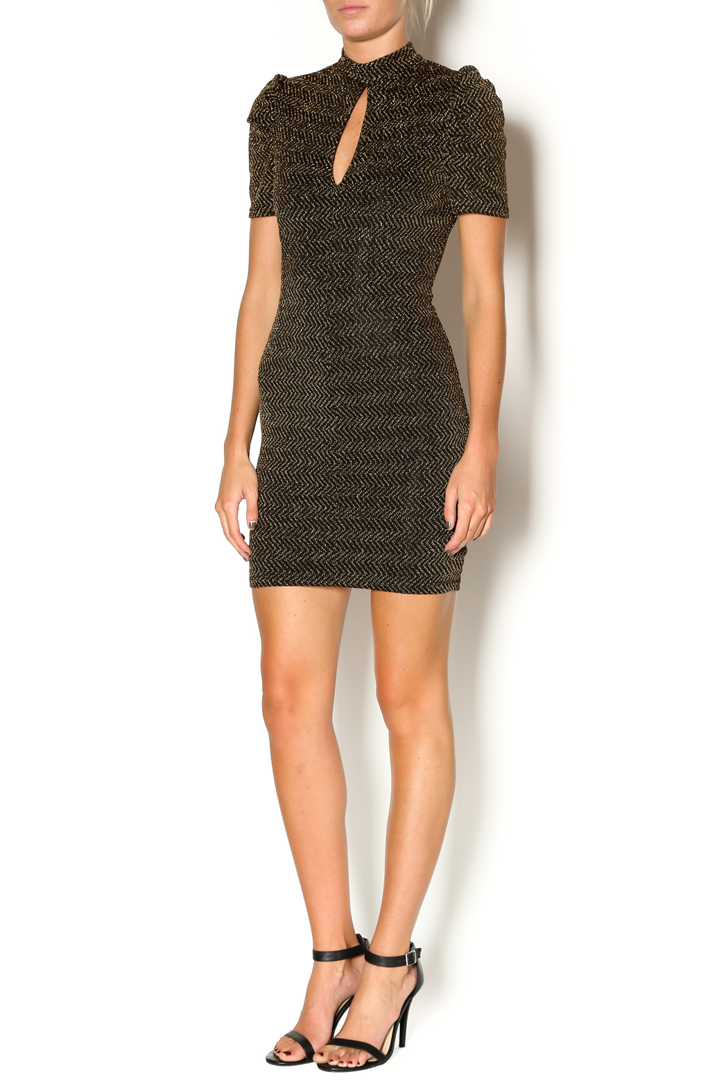 Abby & Taylor Black Gold Keyhole Dress - Front Full Image