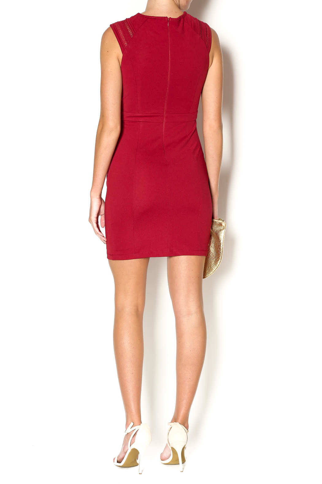 Abby & Taylor Burgundy Sleeveless Dress - Side Cropped Image