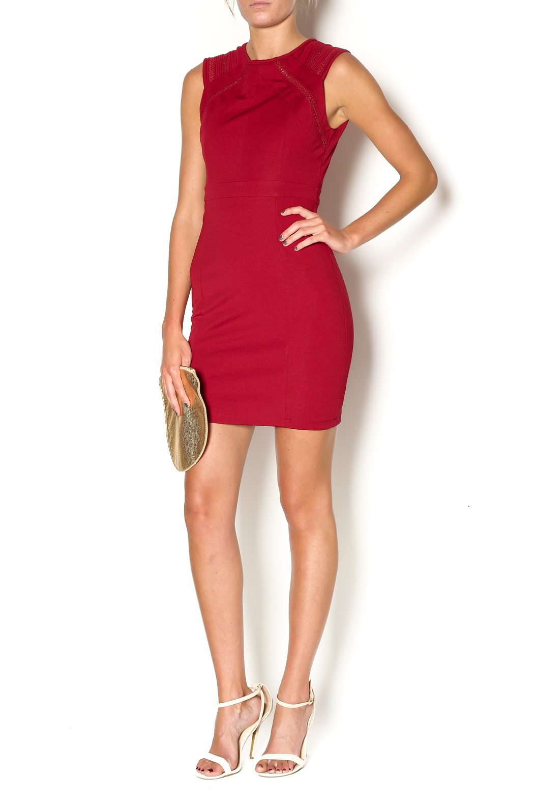 Abby & Taylor Burgundy Sleeveless Dress - Front Full Image