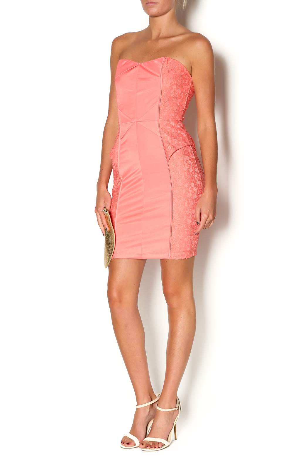 Abby & Taylor Strapless Coral Lace Dress - Front Full Image