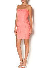 Abby & Taylor Strapless Coral Lace Dress - Front full body