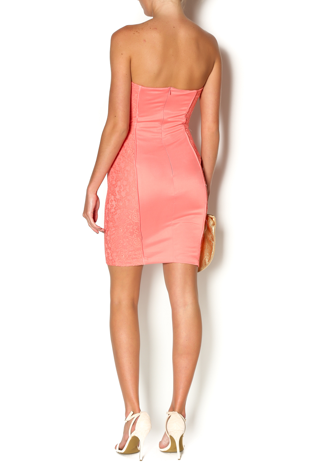 Abby & Taylor Strapless Coral Lace Dress - Side Cropped Image