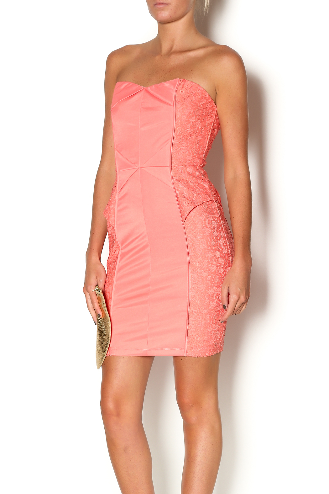 Abby & Taylor Strapless Coral Lace Dress - Main Image