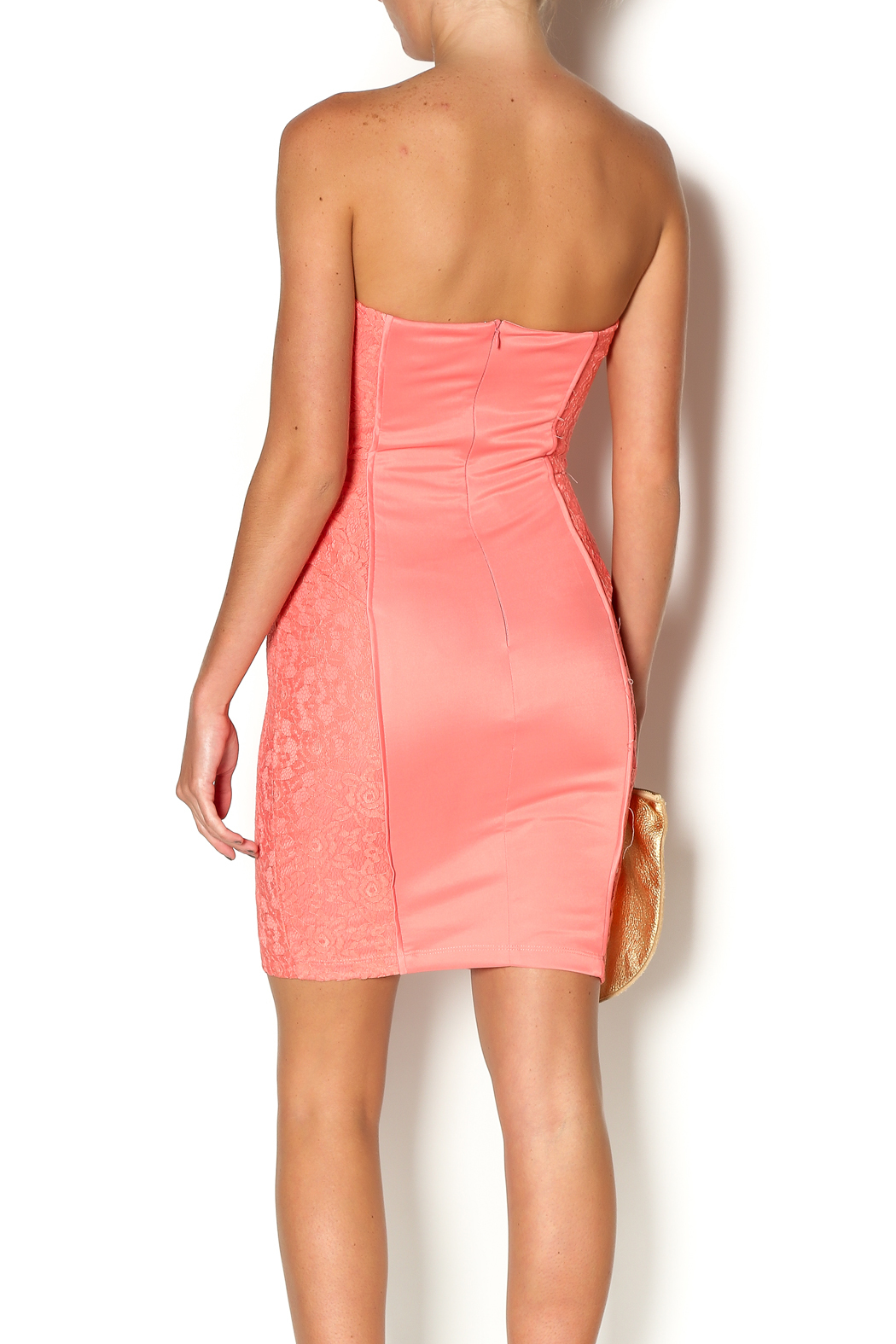 Abby & Taylor Strapless Coral Lace Dress - Back Cropped Image