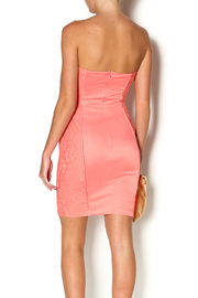 Abby & Taylor Strapless Coral Lace Dress - Back cropped