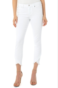 Shoptiques Product: Abby Crop Skinny Scallop Hem, Bright White