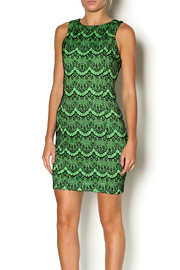 Abby& Taylor Black Lime Lace Dress - Front cropped