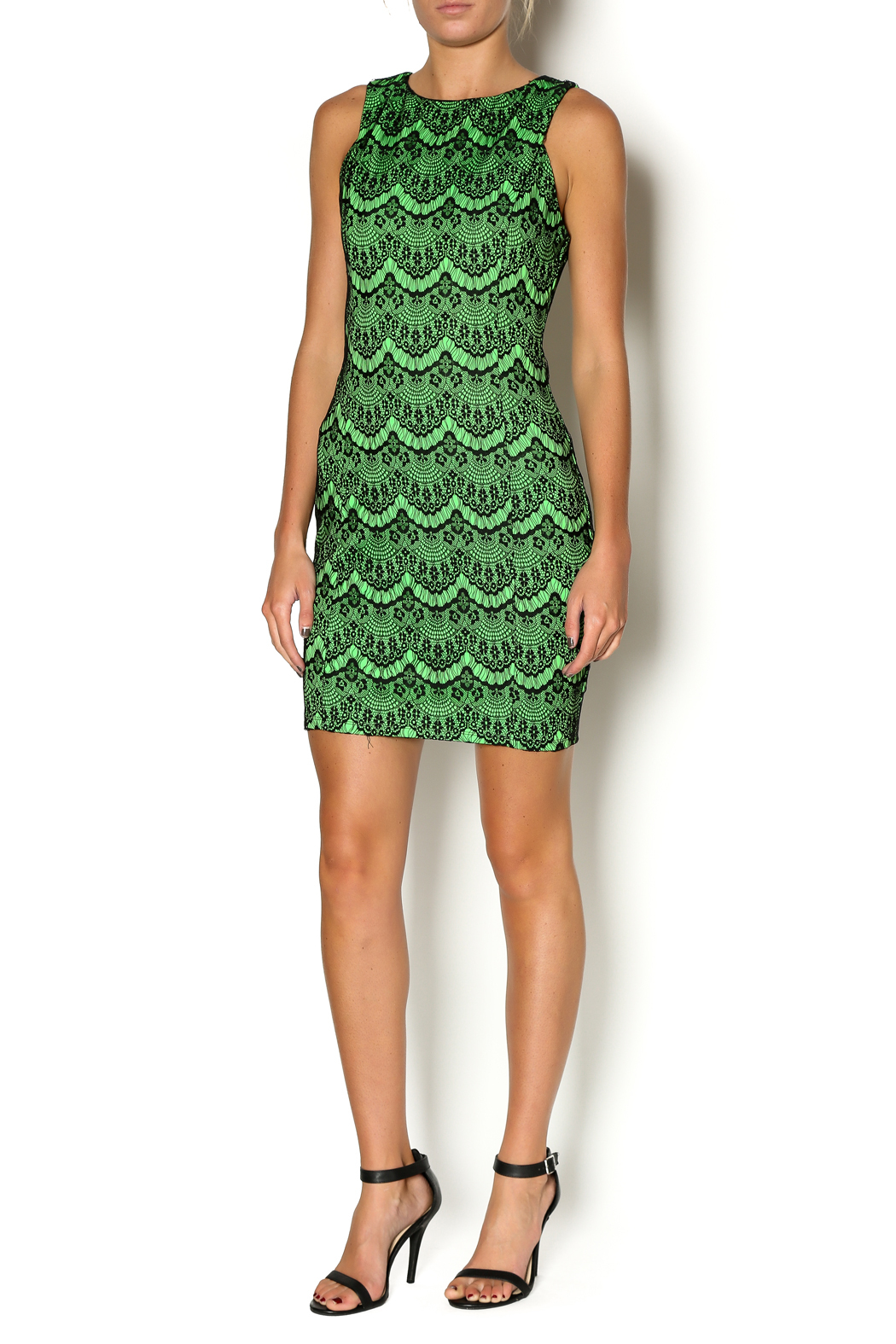 Abby& Taylor Black Lime Lace Dress - Front Full Image