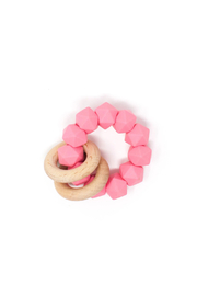 Three Hearts Abby Teething Rattle - Front cropped