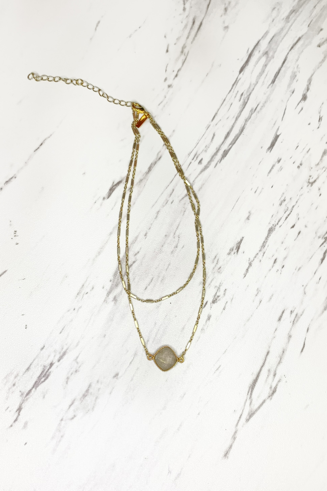 Midori Linea Abby Two Tier Gold Necklace w Stone - Front Cropped Image