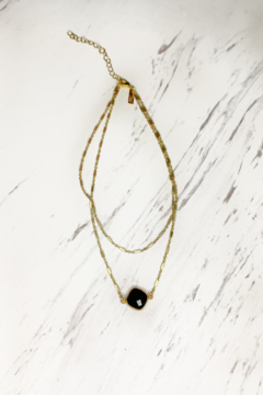 Midori Linea Abby Two Tier Gold Necklace w Stone - Alternate List Image