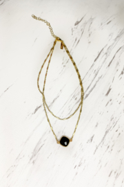 Midori Linea Abby Two Tier Gold Necklace w Stone - Front cropped