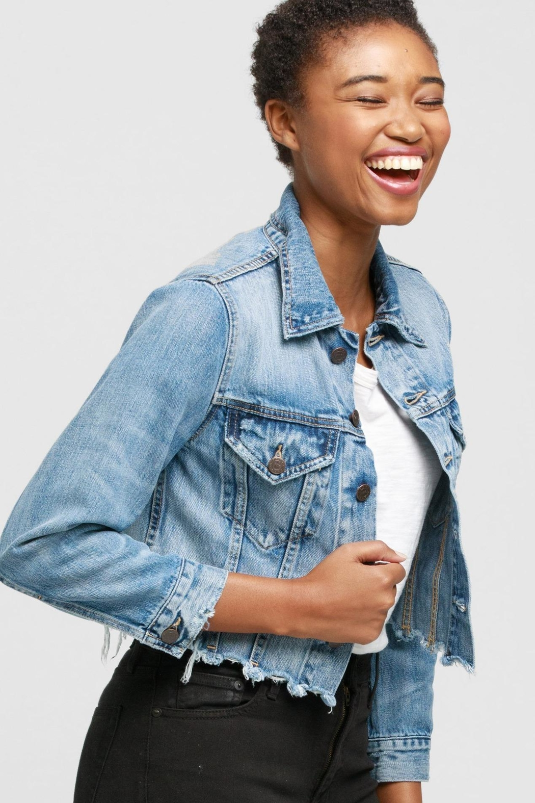Able Cropped Jean Jacket - Main Image