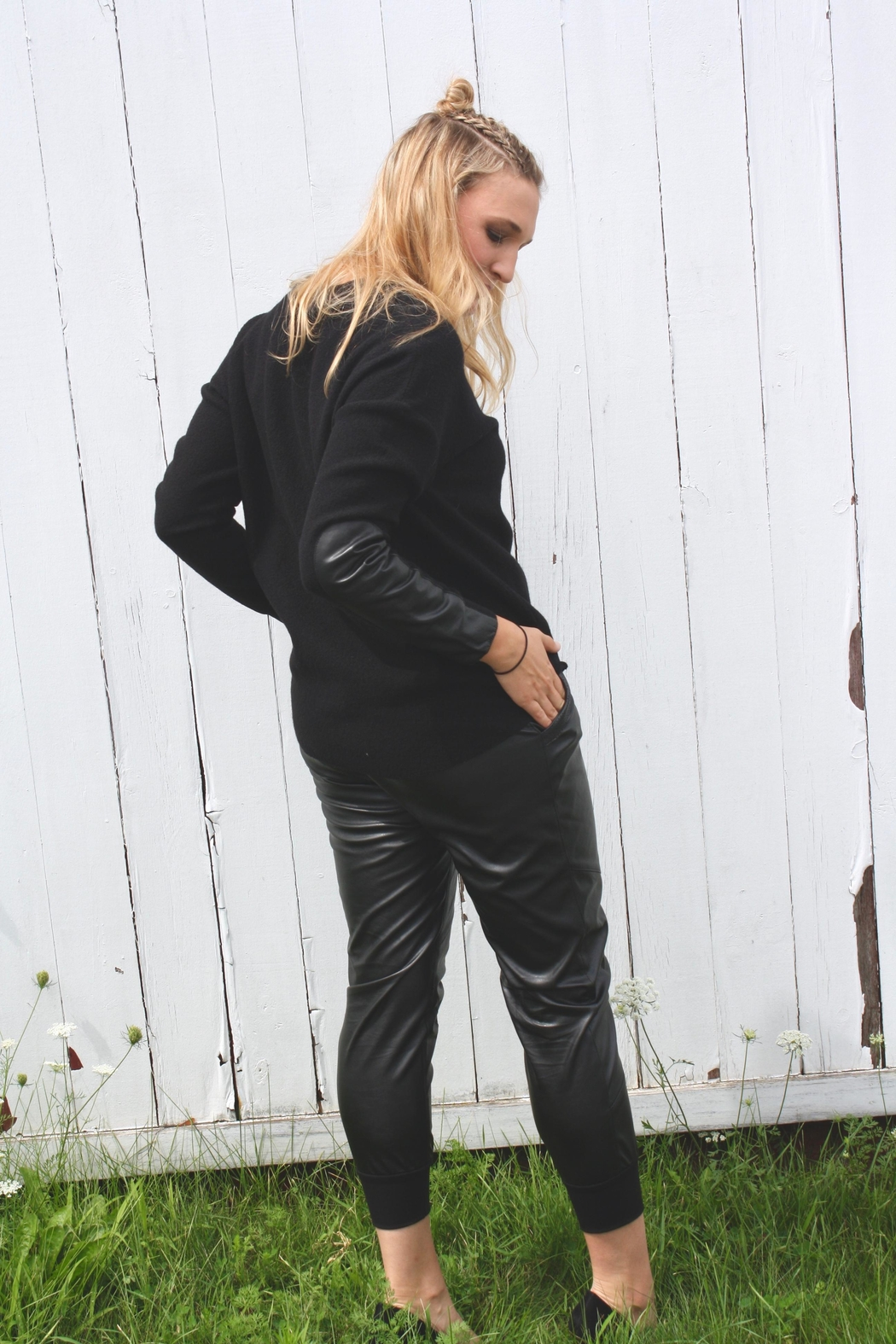 ABS Allen Schwartz Pleated Leather Joggers - Front Full Image