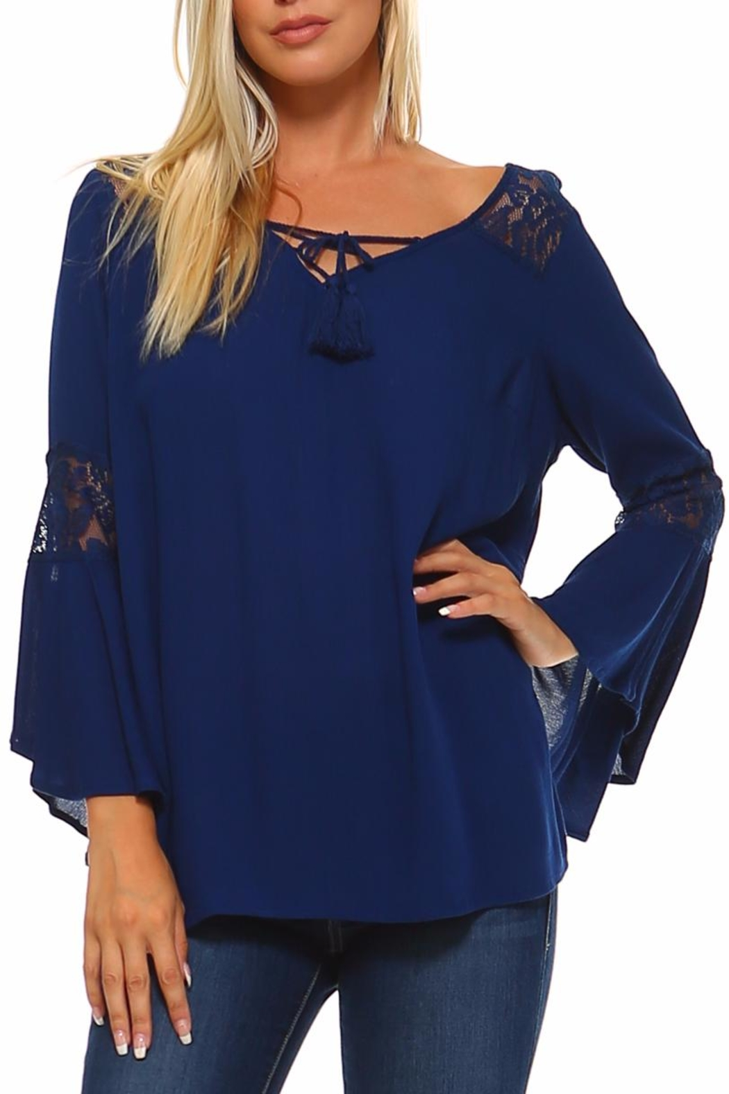 Absolutely Famous Lace-Up Front Top - Front Cropped Image