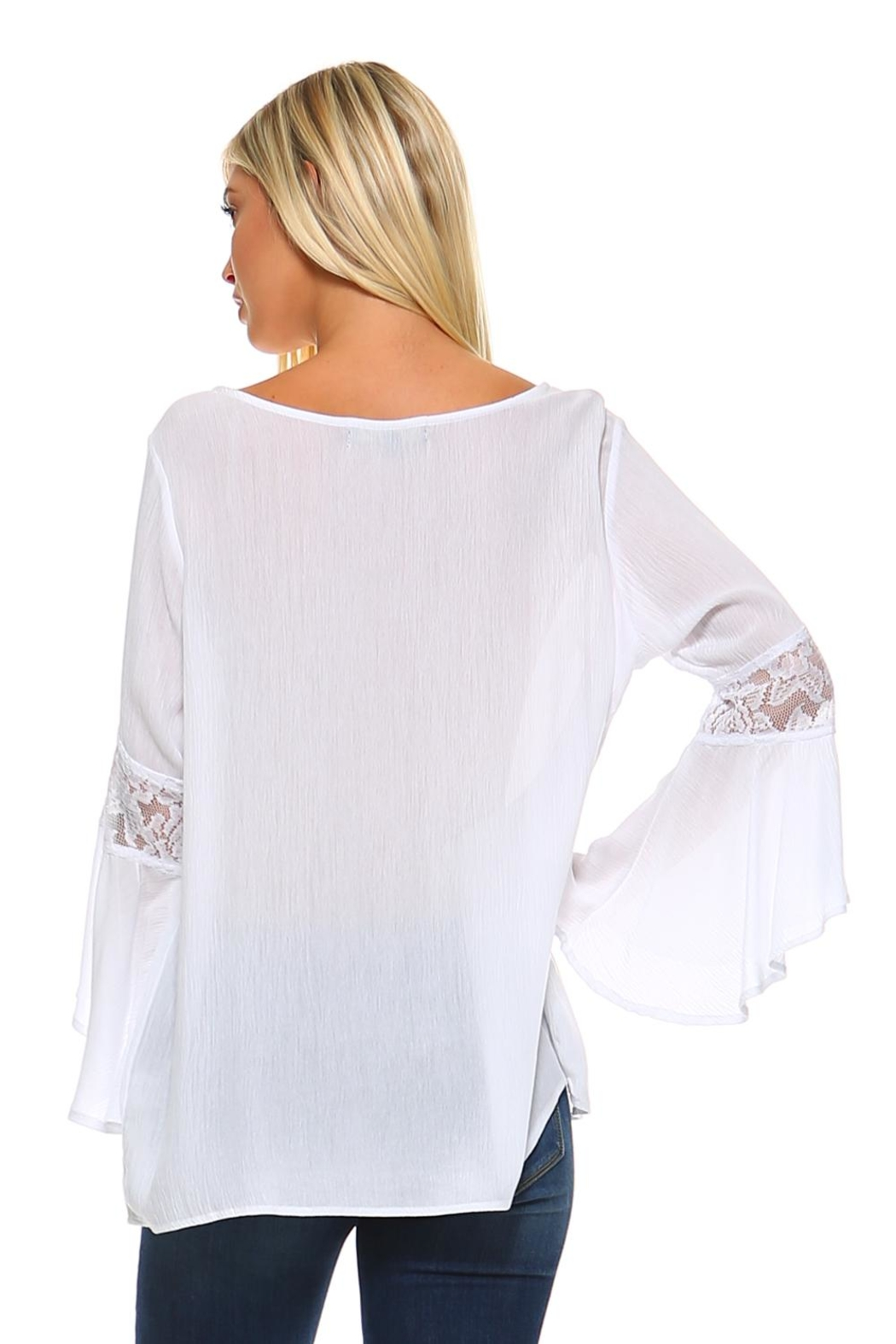 Absolutely Famous Lace-Up Front Top - Side Cropped Image