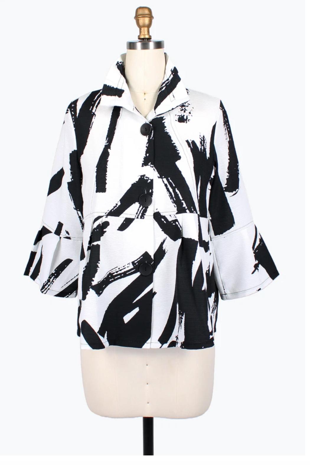 Damee Abstract Brush Stroke Short Jacket - Front Cropped Image