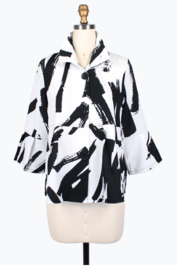 Damee Abstract Brush Stroke Short Jacket - Front cropped