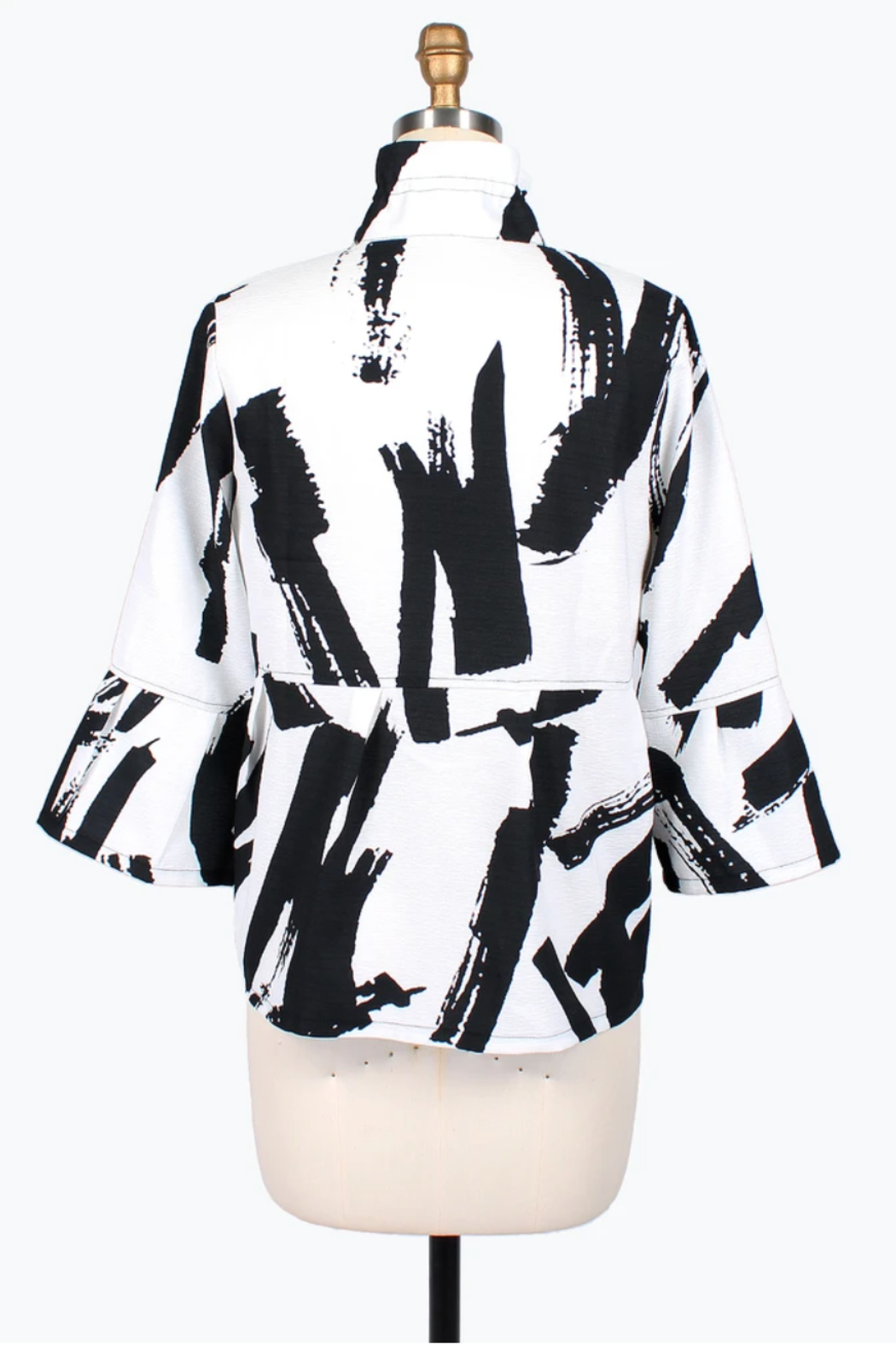 Damee Abstract Brush Stroke Short Jacket - Front Full Image
