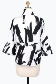 Damee Abstract Brush Stroke Short Jacket - Front full body