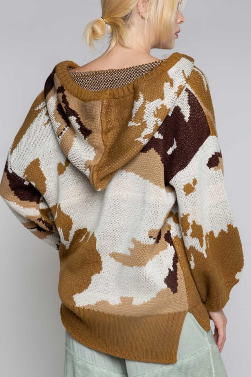 POL Abstract Camo Hoody Sweater - Back Cropped Image