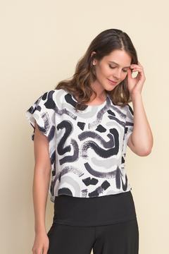 Joseph Ribkoff  Abstract design top with cape sleeves. - Product List Image