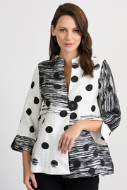 Joseph Ribkoff  Abstract Dot Jacket, Black/White - Product Mini Image