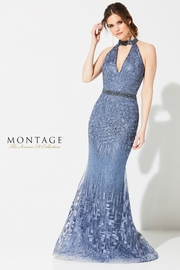 Ivonne D Abstract Embroidered Halter Gown, Wedgwood - Product Mini Image