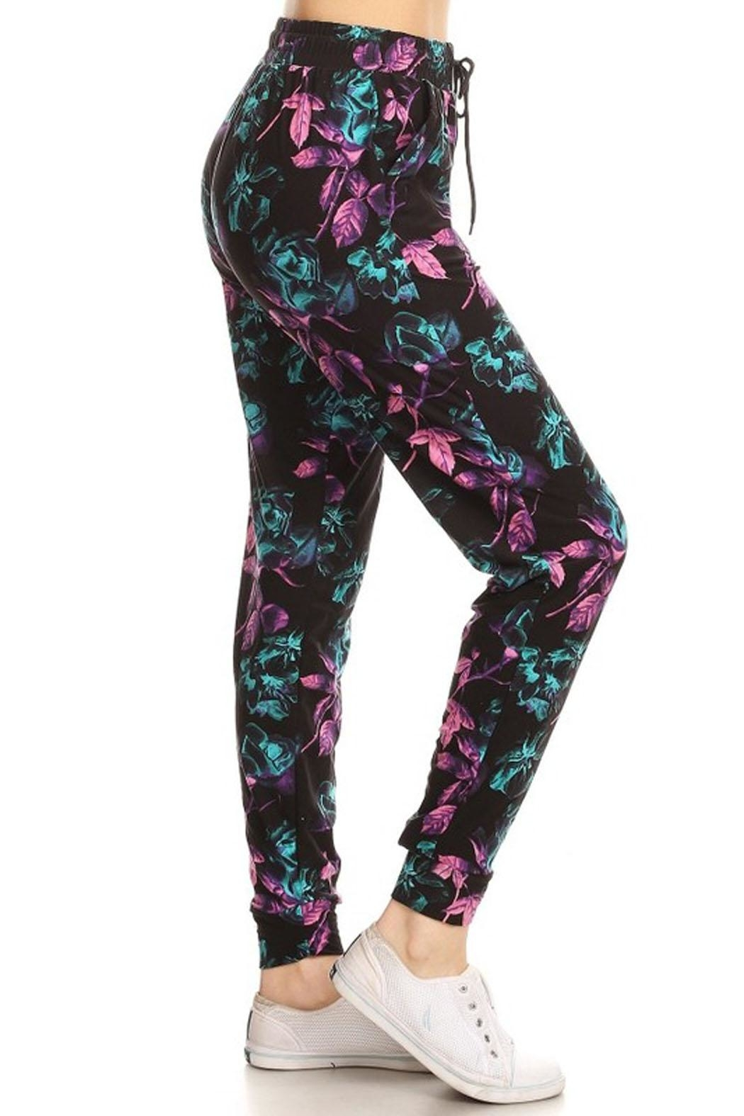 New Mix Abstract Floral Jogger - Side Cropped Image