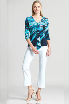 Clara Sunwoo Abstract Floral Stripe Cascade Drape Top - Product List Image